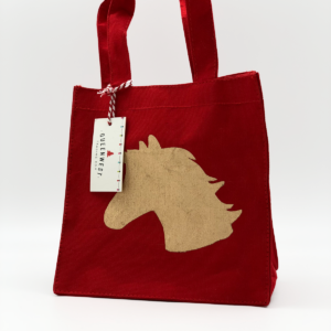 Red Tote Bag With Gold Unicorn Shadow in Center