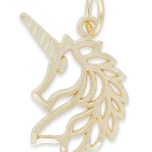 Gold Unicorn Charm in Shape of Unicorn With Cutout
