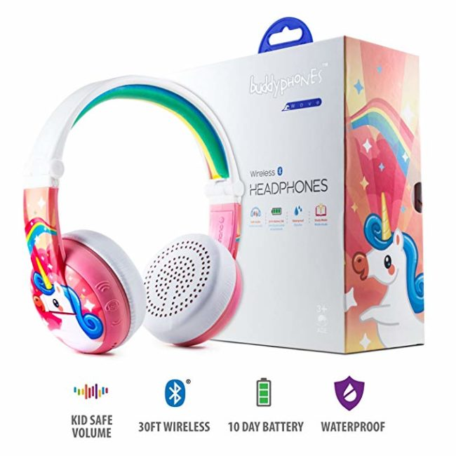 White Large Headphones with Pink and Rainbow Colors With Unicorn on Ear Covers Next to Box For Headphones