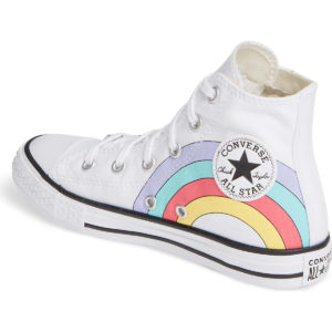 White Kids High Tops with Rainbow around Logo