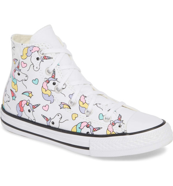 White High Top Sneakers with Rainbow on one side and small unicorns across