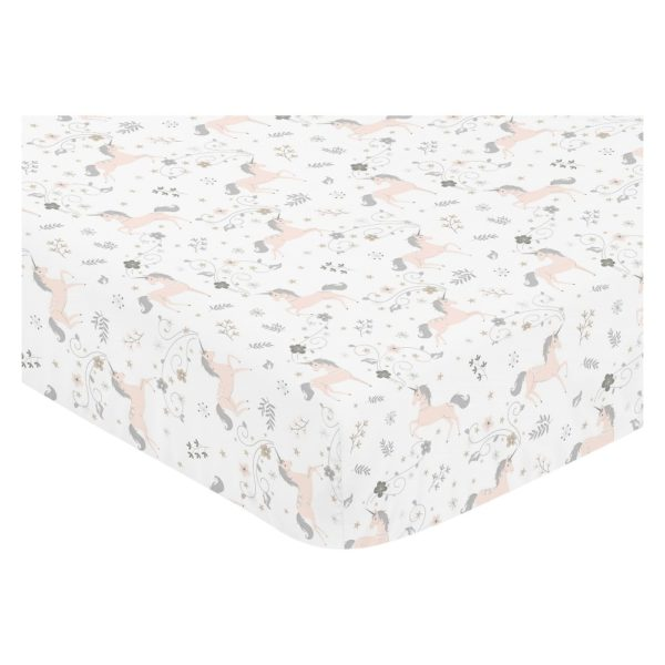 White Fitted Crib Sheet With Unicorn Print