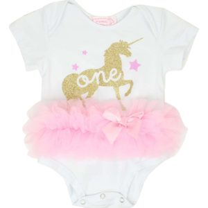 White Infant Unicorn Bodysuit Jumper with Pink Tutu and Unicorn