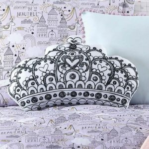 Back and White Crown Shaped Throw Bedding Pillow