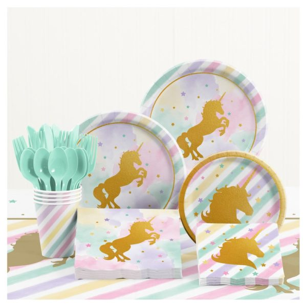 Gold unicorn shadow on plates and flatware and table cloth paired together as a kit for a birthday or party