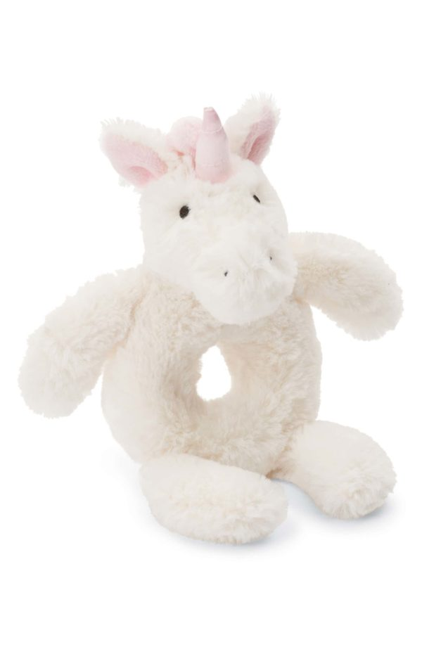White and Pink Baby Unicorn Rattle