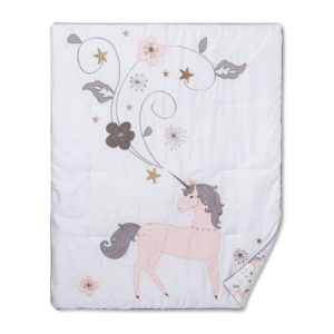 Pink Unicorn with Purple Tail with flowers and other decorations on Blanket