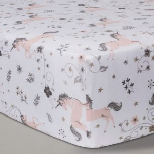 Pink Unicorn on White Fitted Crib Sheet
