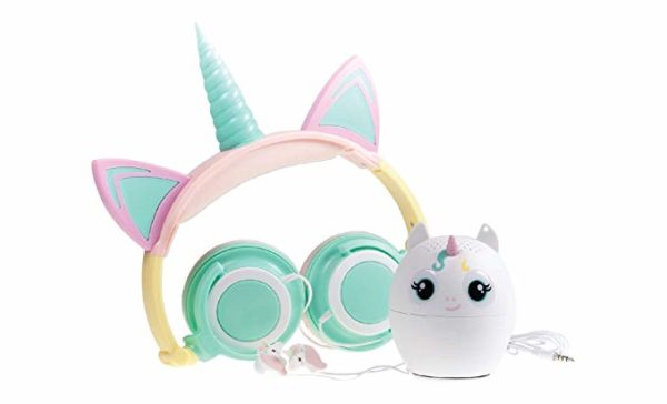 Unicorn Foldable Headphones in Water Colors, Horn and Ears, Unicorn Shaped Mini Bluetooth Speaker and Unicorn Shaped Headphone Earbuds